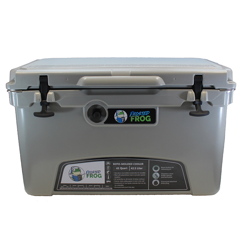 Frosted Frog 45 QT Grey Premium Cooler | Premium Supplier of Tumblers, Coolers and Apparel | Tumblers and Coolers
