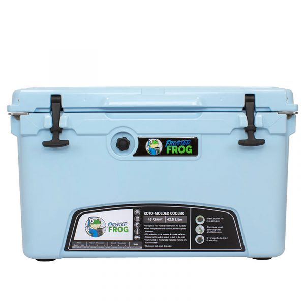 Frosted Frog 45 QT Ocean Blue Premium Cooler   Premium Supplier of Tumblers, Coolers and Apparel   Tumblers and Coolers