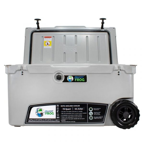 Frosted Frog 70 QT Grey Premium Cooler with Wheels   Premium Supplier of Tumblers, Coolers and Apparel   Tumblers and Coolers