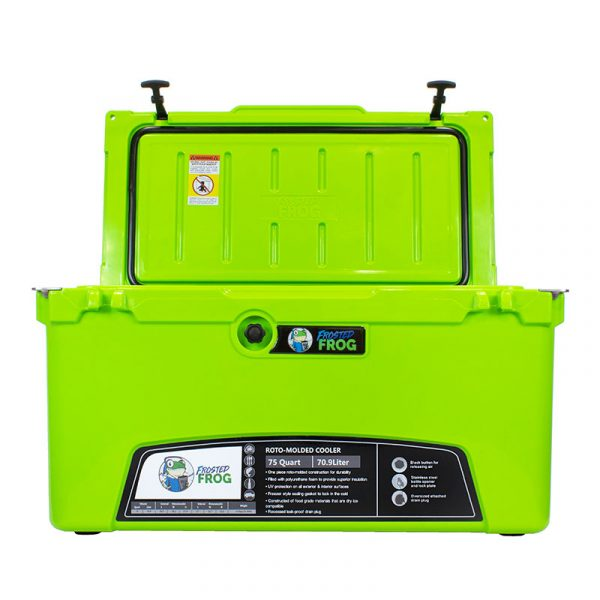bright green open cooler 20 qt