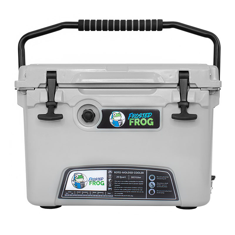 Frosted Frog 20 QT Cool Grey Premium Cooler | Premium Supplier of Tumblers, Coolers and Apparel | Tumblers and Coolers
