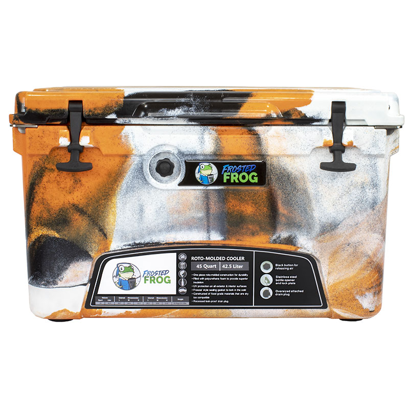 Frosted Frog 45 QT Orange Camo Premium Cooler | Premium Supplier of Tumblers, Coolers and Apparel | Tumblers and Coolers