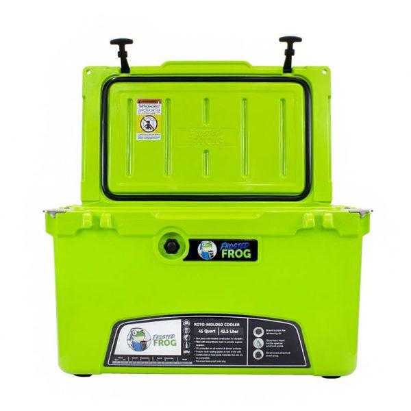 bright green open cooler 45 qt