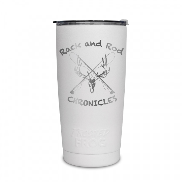 Frosted Frog White Rack and Rod Tumbler | Premium Supplier of Tumblers, Coolers and Apparel | Tumblers and Coolers